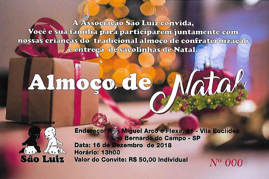 Convite para o Natal da Associação São Luiz (2018)